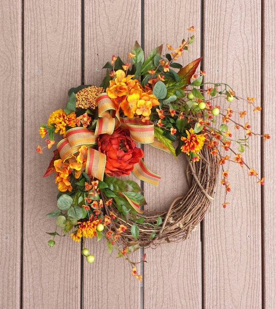 Fall Doorways: Fall Wreath Front Door Decor Wreath Autumn By