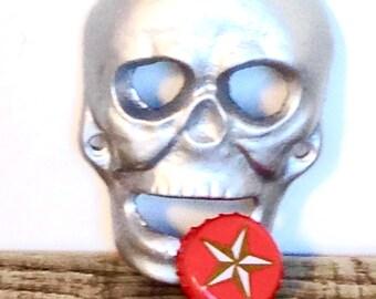 Silver Skull Bottle Opener - Kitchen Decor- Man Cave Decor - Beer Opener - Skull Wall Art - Silver Skull - Man Cave Bar - Skull Wall Decor