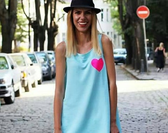 Baby Blue Sleeveless Tunic Top / Loose Tunic / Minimalist Tank Top by FabraModaStudio / T707