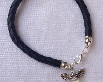 Leather Bracelet black for BON JOVI Fans Heart & Dagger