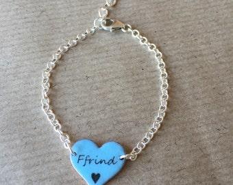 Ffrind (Friend) Enamel Heart Bracelet In Blue, Pink Or White