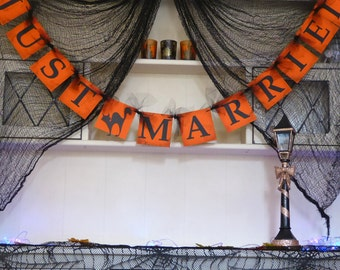 Customise your just married bunting, autumn wedding, fall wedding, halloween wedding, burnt orange