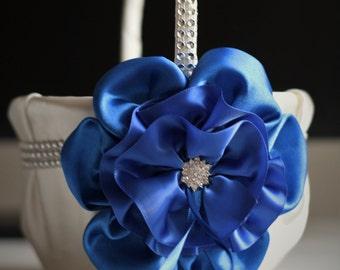 Blue Flower Girl Basket \ Ivory Blue Wedding Basket \ Cobalt Blue Basket \ Cobalt blue wedding \ Royal Blue Wedding \ Royal Wedding Basket