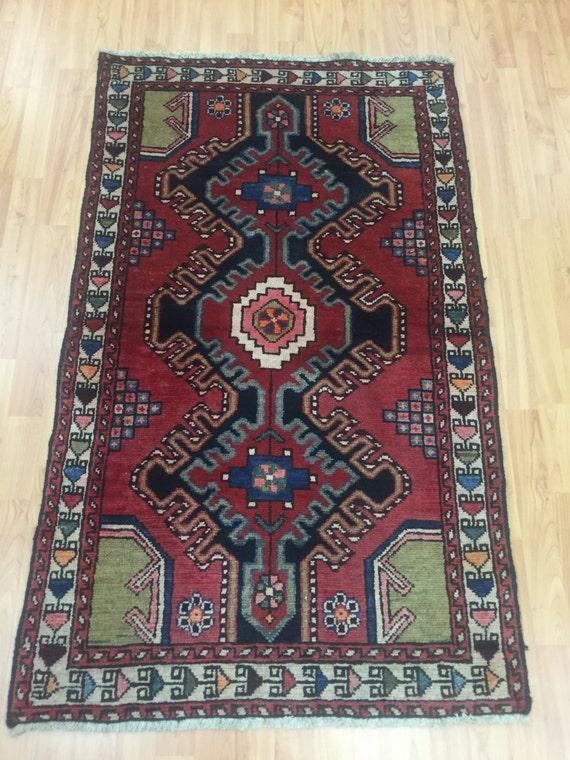 "2'8"" x 4'6"" Persian Hamadan Oriental Rug - 1960s - Hand Made - 100% Wool"