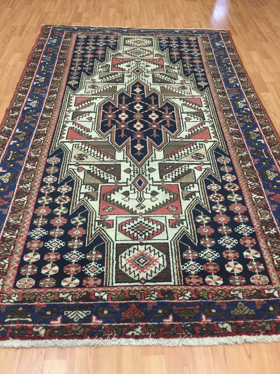 "4'2"" x 7' Antique Persian Hamadan Oriental Rug - 1930s - Hand Made - 100% Wool - Vintage"