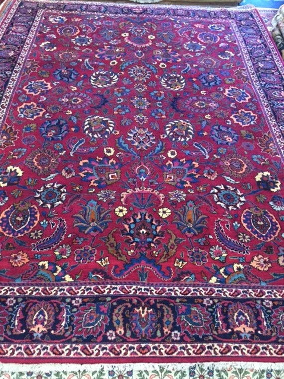 "8'6"" x 11'3"" Persian Mashad Oriental Rug - Very Fine - Hand Made - 100% Kork Wool"