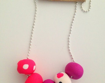 """Polymer Clay Necklace - """"Sea of Pink"""""""
