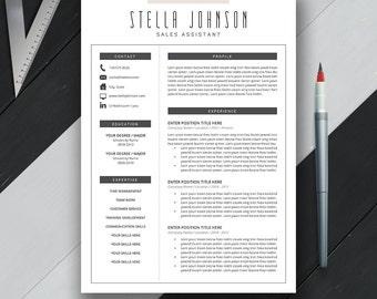 Modern Resume Template, Cover Letter, CV Template, US Letter, A4, Professional, Creative, Teacher Resume Design, Instant Download, 'STELLA'