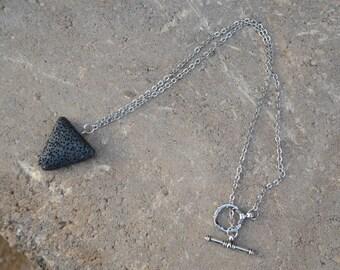 Essential Oil Aromatherapy Diffuser Necklace ~ Triangle Lava Pendant