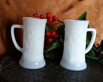 Ten Indiana White Milk Glass Steins -  Pub Scene Beer Mugs - set of 10 Barware Wedding Winter