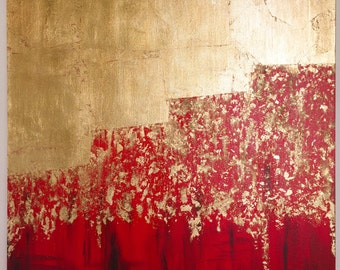 Red/Gold Gilded Abstract Art