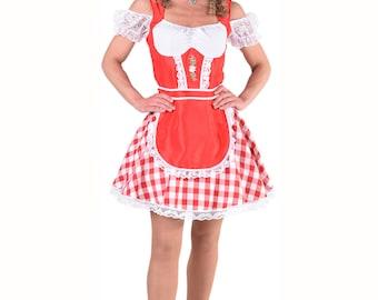 Oktoberfest Dirndl / Heidi / Bavarian - Red / White , sizes 6-22