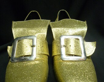 Prince Charming Period Shoe - Gold Glitter