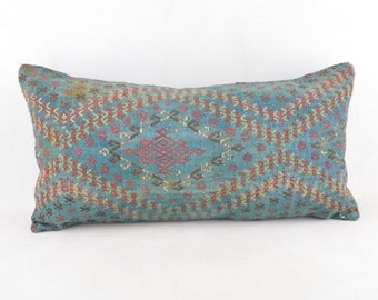 Kilim pillow 24x12 inc, kilim pillow cover, home decor, decorative throw pillow