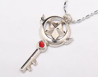 SALE Cardcaptor Sakura Necklace / Cardcaptors Star Key / Clow Star Key Sealing Pendant / Silver / Cosplay / Cardcaptor Necklace / Anime