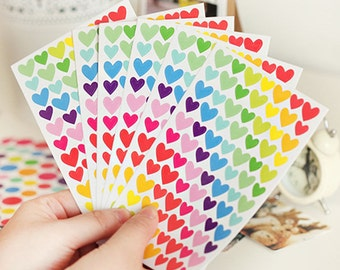 Colorful Rainbow Heart Stickers (6 Sheets) / Cute Heart Stickers / Kawaii Stickers / Cute Stickers / Heart Stickers / Cute Planner Stickers
