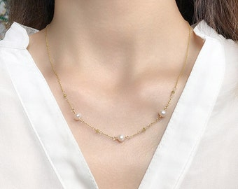 Pearl & Yellow Diamond Necklace, 14k Yellow Gold Filled Chain, Genuine White Freshwater Pearl and Diamond, April Birthstone, Gift Her