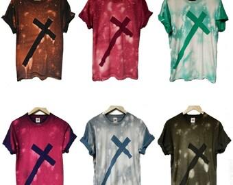 Tie Dye T-Shirt acid wash T-shirt hipster Retro 80s 90s vintage punk dip dye cross trash Galaxy men women unisex top