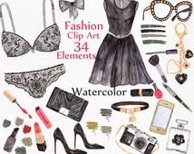 """Watercolor Fashion clipart: """"MAKEUP CLIPART"""" Black Lingerie beauty blog dress lipstick perfume purse shoes Bridal Party Wedding clipart"""