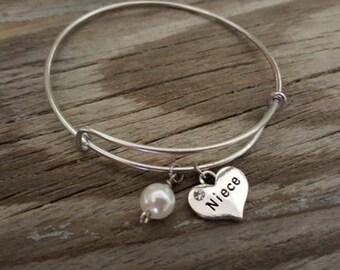 Niece Bangle - Niece Bracelet - Niece Gift - Niece Heart Jewelry - I/B