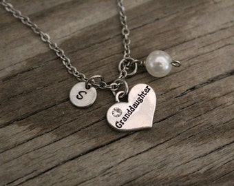 Granddaughter Necklace - Granddaughter Gift - Granddaughter Jewelry - Initial/Bead