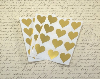 Gold Heart Stickers, Heart Envelope Seal, Invitation Seals, Wedding Stickers, Die Cut Sticker, Metallic Gold, Gold Seals, Gift Wrapping Seal