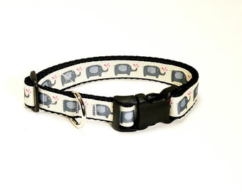 "Elephant Dog Collar (3/4"" width) - Martingale - Small - Medium"