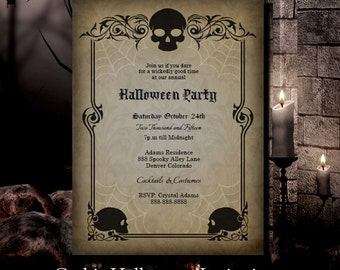 Halloween Invitation Halloween Party Invitation Gothic Skulls INSTANT DOWNLOAD Edit with Adobe Reader DIY