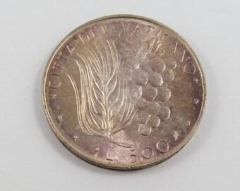 Vatican City 1973 Paul VI Silver 500 Lire Coin.