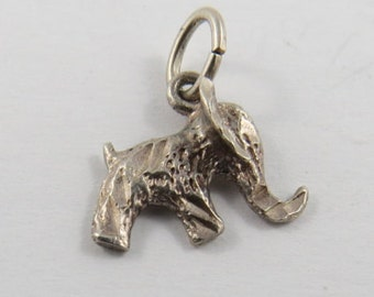 Elephant Sterling Silver Pendant or Charm.