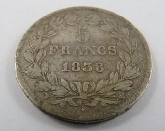 France 1838A Silver 5 Franc Coin.