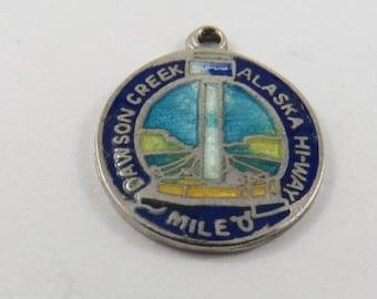 "Enameled Dawson Creek Alaska Highway Mile ""0"" Silver Charm of Pendant."