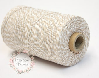 Light Beige Baker's Twine, 4 Ply, 15 Yards, Khaki Baker's Twine, Brown Twine, White Twine, Food Packaging, Tan Gift Wrap, Wedding Gift Wrap