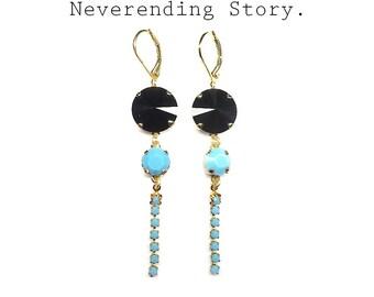 earrings Swarovski, blue crystal earrings, gold plated earrings, turquoise earrings, leverback earrings, gift for her, blue black earrings