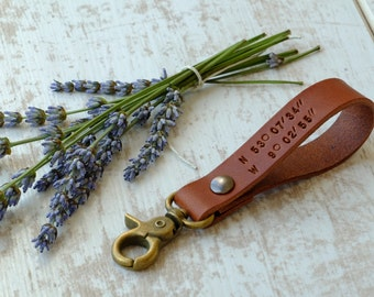Engraveable keychain - Personalized Leather Keychain -  Latitude Longitude Keychain - GPS Coordinates Key Ring - Anniversary Gift for Him