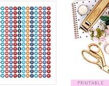 Social Media Stickers, Social Media Icons, Icon Stickers, Round Stickers, Blog Stickers, Facebook Stickers, Twitter Stickers, Erin Condren