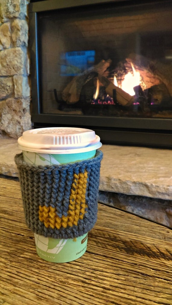 Monogrammed crochet coffee sleeve -- made to order