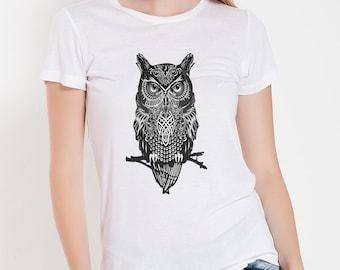 Womens Graphic Tee Shirt, Owl Shirt T Shirt, Basic Women Shirt, Funny Shirt, Gift for Her Plus Size
