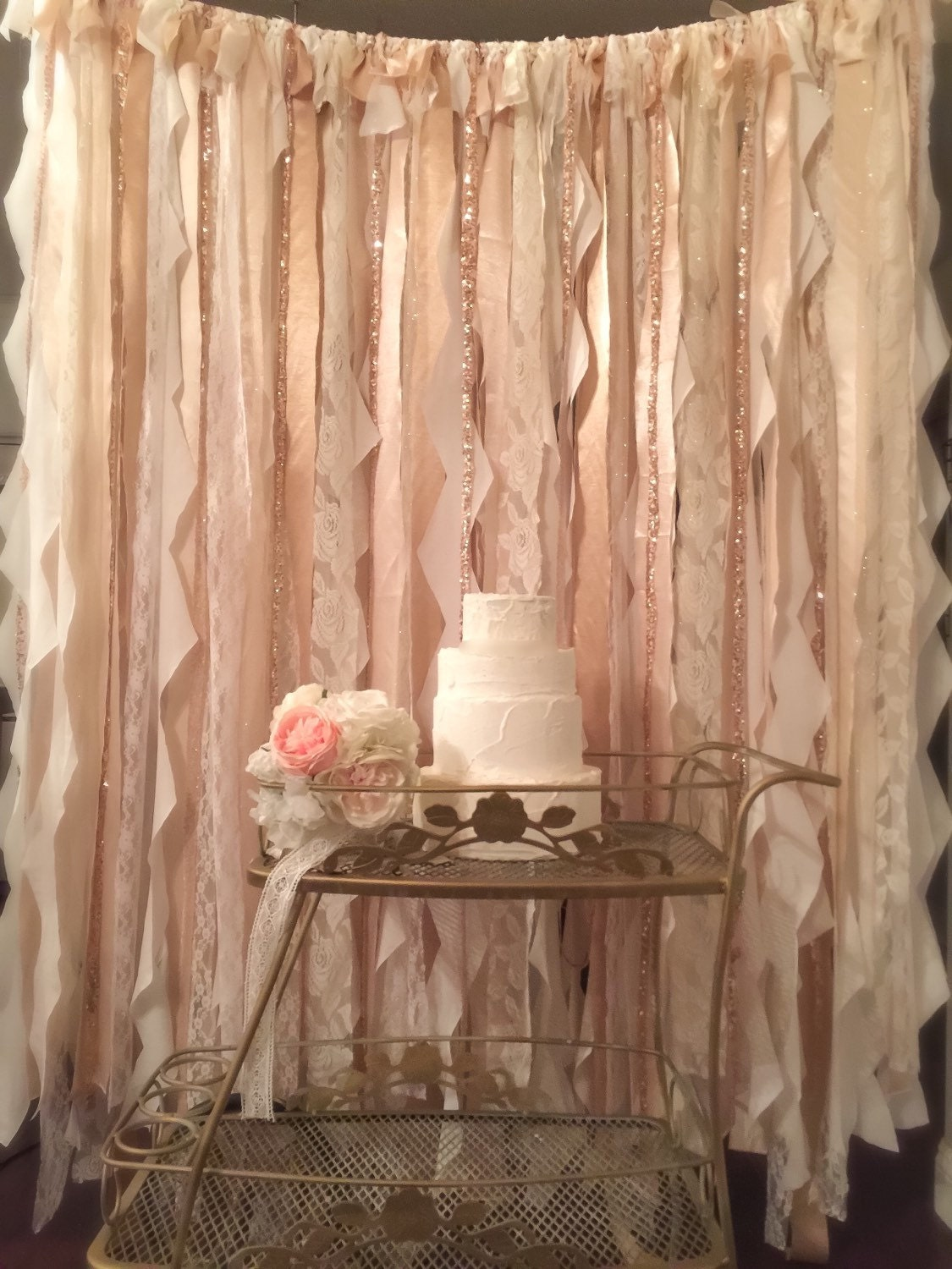 Champagne And Gold Ribbon Backdrop Photo Booth Backdrop Gold