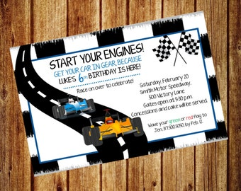 Race Car Birthday Invitation for Boy or Girl