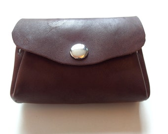 Leather coin purse/Brown coin pouch