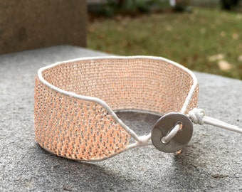 Champagne Rose Peyote Stitch Leather Cuff Bracelet