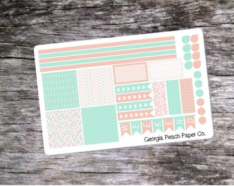 Mint and Blush Arrows Themed Planner Stickers- Made to fit Horizontal Layout
