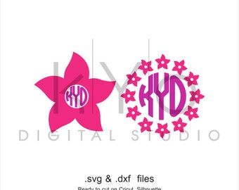 Flower Monogram SVG cutting file, Flower SVG, Summer Flower Monogram svg, svg files for Cricut and Silhouette, Cameo files