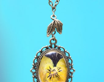 Purple and Yellow Viola Necklace, pressed flower jewellery, gift for her