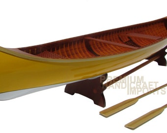 """24"""" Handcrafted Peterborough Canoe - Yellow & White"""