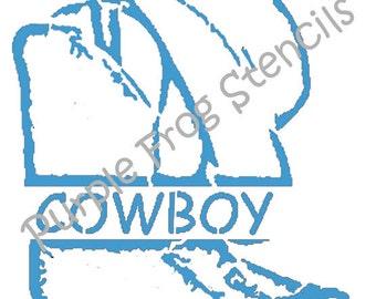 Cowboy STENCIL (Reusable)  Different Sizes Available, Boots