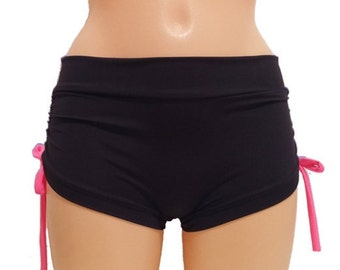 pole dancing shorts with side gathering and laces