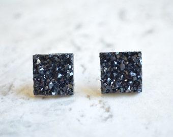The Starlight- Black Druzy Post Earrings