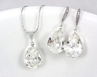 Clear Crystal Bridal Necklace and earrings set, Bridal jewelry set, Clear Swarovski weddings jewelry set Teardrop Earrings,  bridesmaid gift
